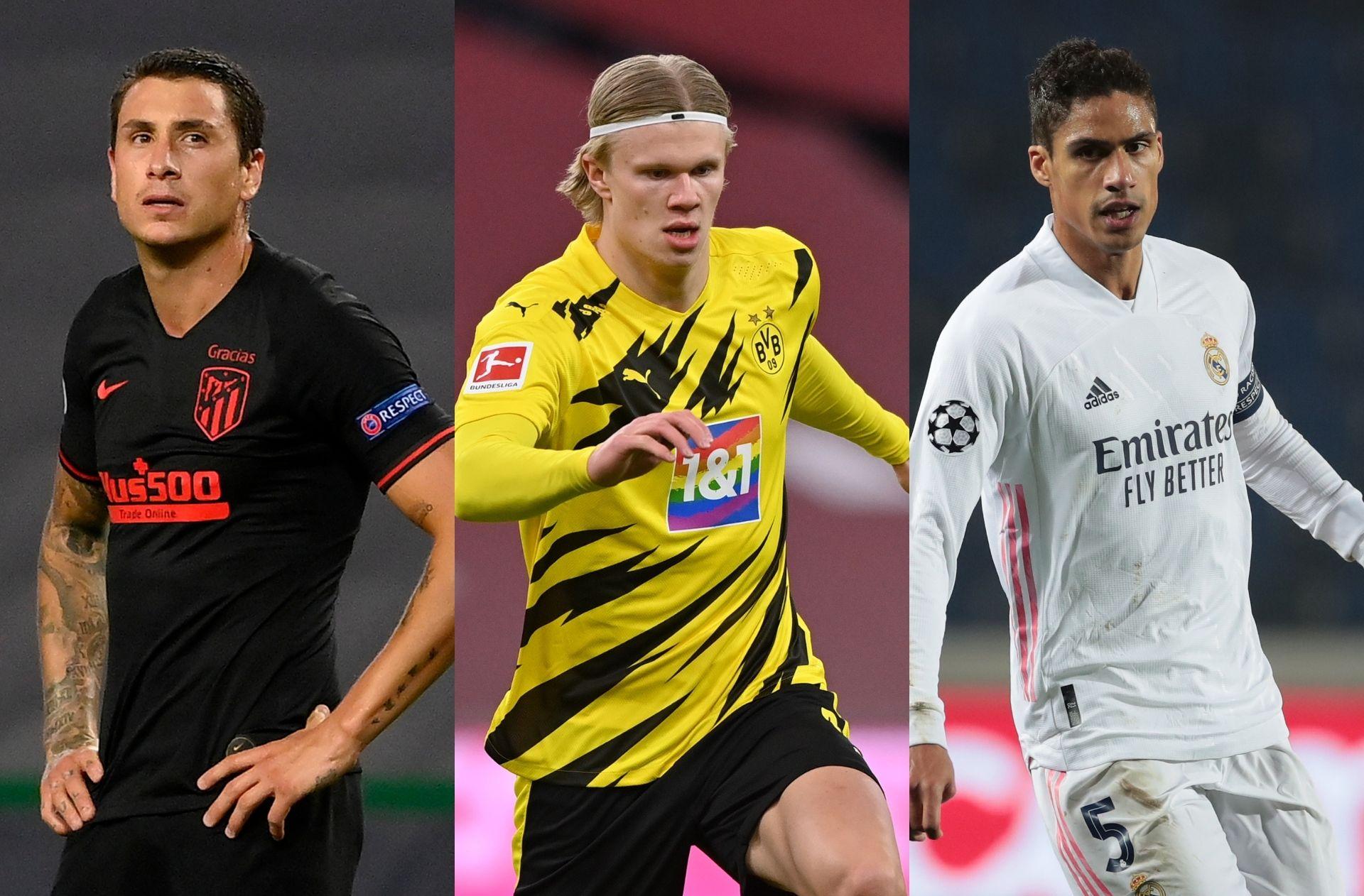 Jose Gimenez of Atletico Madrid, Erling Haaland of Borussia Dortmund, Raphael Varane of Real Madrid