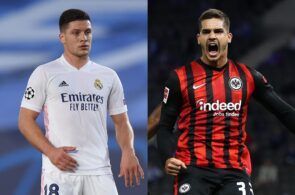 Luka Jovic of Real Madrid, Andre Silva of Eintracht Frankfurt