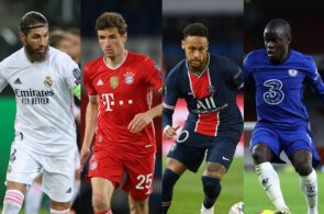 Sergio Ramos of Real Madrid, Thomas Muller of Bayern Munich, Neymar of PSG, N'Golo Kante of Chelse