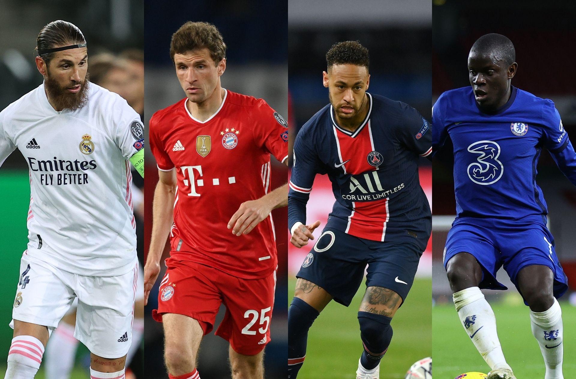 Sergio Ramos of Real Madrid, Thomas Muller of Bayern Munich, Neymar of PSG, N'Golo Kante of Chelse