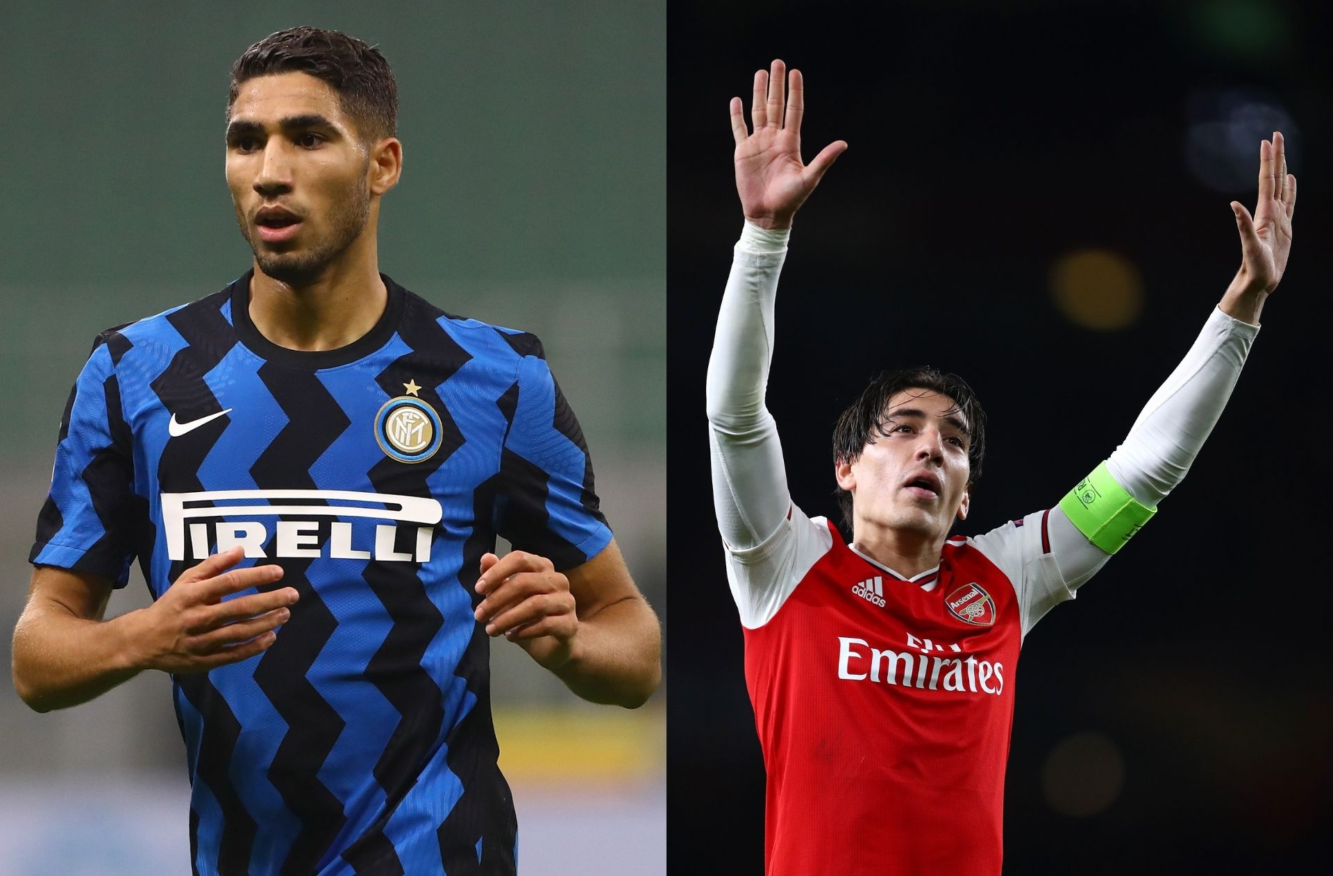 Achraf Hakimi of Inter Milan, Hector Bellerin of Arsenal