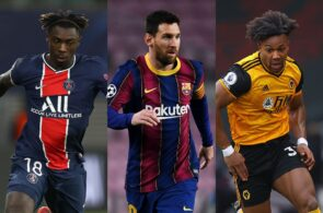 Moise Kean of Paris Saint-Germain, Lionel Messi of FC Barcelona, Adama Traore of Wolves