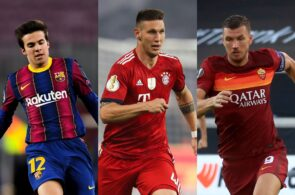 Riqui Puig of FC Barcelona, Niklas Sule of Bayern Munich, Edin Dzeko of AS Roma