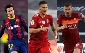 Riqui Puig of FC Barcelona, Niklas Sule of Bayern Munich, Edin Dzeko of AS Roma