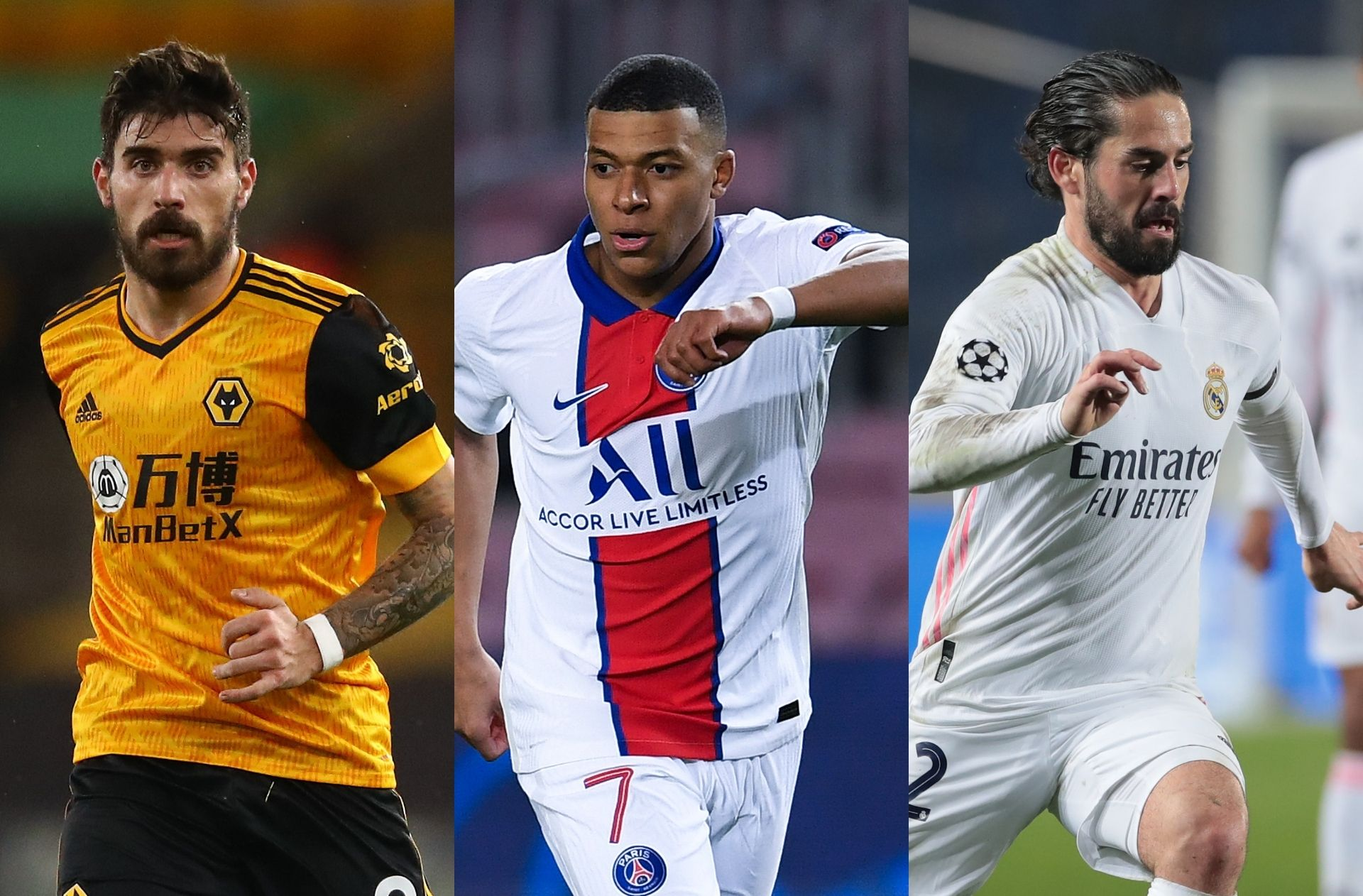 Ruben Neves of Wolves, Kylian Mbappe of PSG, Isco of Real Madrid