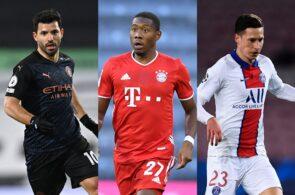 Sergio Aguero of Manchester City, David Alaba of Bayern Munich, Julian Draxler of Paris Saint-Germain