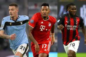 Sergej Milinkovic-Savic of Lazio, Jerome Boateng of Bayern Munich, Franck Kessie of AC Milan