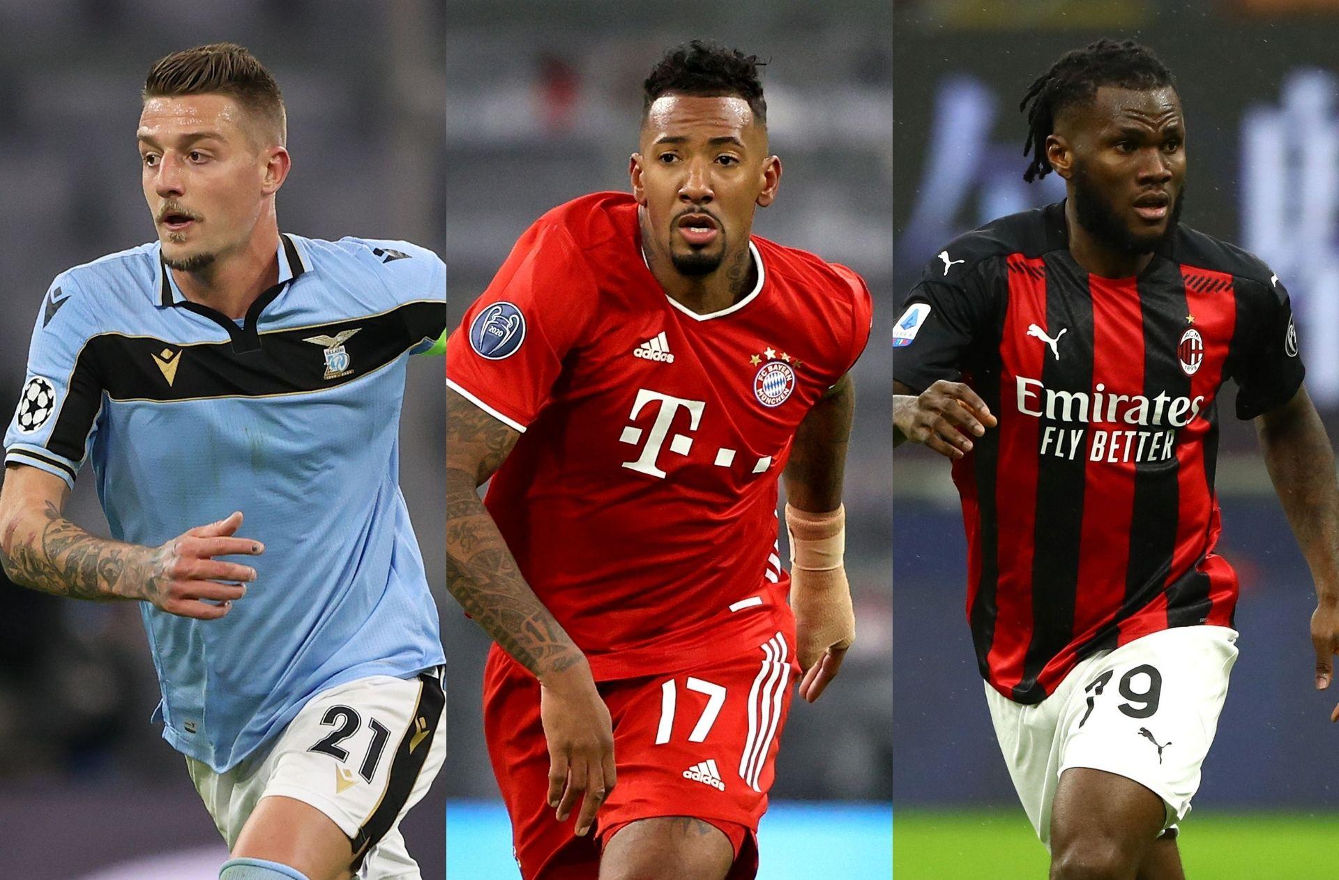 Sergej Milinkovic-Savic of Lazio, Jerome Boateng of Bayern Munich, Franck Kessie of AC Milan