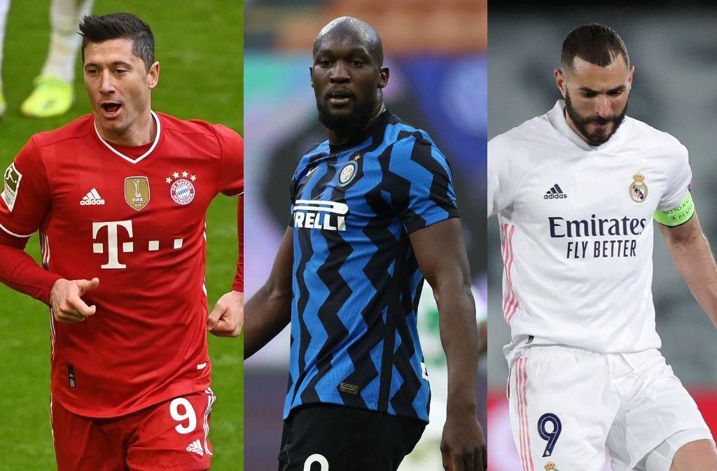 Robert Lewandowski of Bayern Munich, Romelu Lukaku of Inter Milan, Karim Benzema of Real Madrid