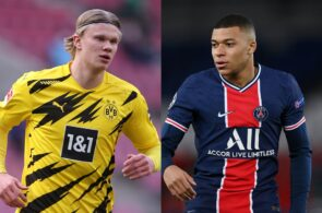 Erling Haaland of Borussia Dortmund, Kylian Mbappe of Real Madrid