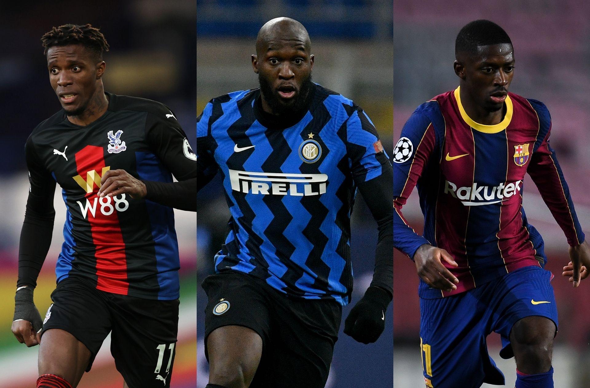 Wilfried Zaha of Crystal Palace, Romelu Lukaku of Inter Milan, Ousmane Dembele of Barcelona