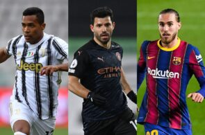 Alex Sandro of Juventus, Sergio Aguero of Manchester City, Oscar Mingueza of Barcelona