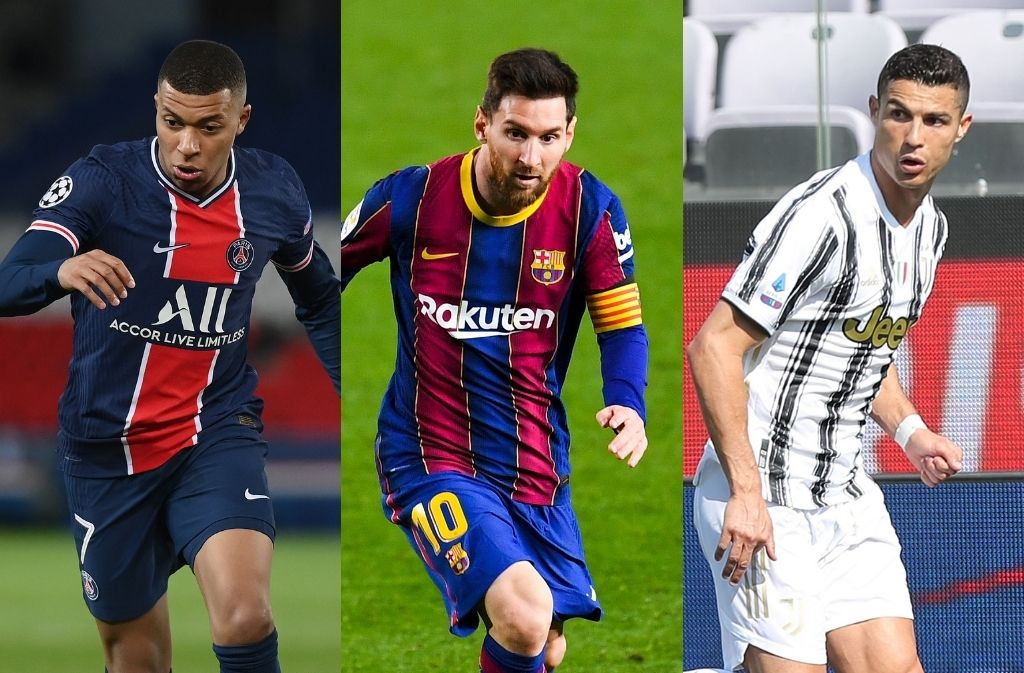 Kylian Mbappe of PSG, Lionel Messi of Barcelona, Cristiano Ronaldo of Juventus