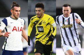 Gareth Bale of Tottenham, Jadon Sancho of Dortmund, Federico Bernardeschi of Juventus