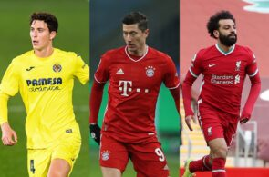 Paul Torres of Villarreal, Robert Lewandowski of Bayern Munich, Mohamed Salah of Liverpool