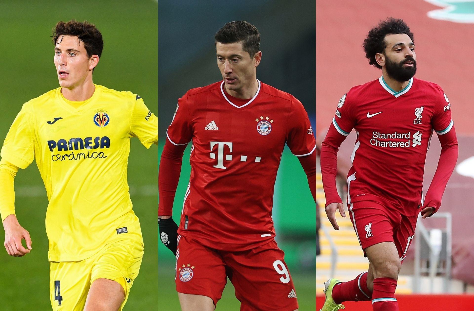 Paul Torres of Villarreal, Robert Lewandowski of Bayern Munich, Mohamed Salah of Liverpool