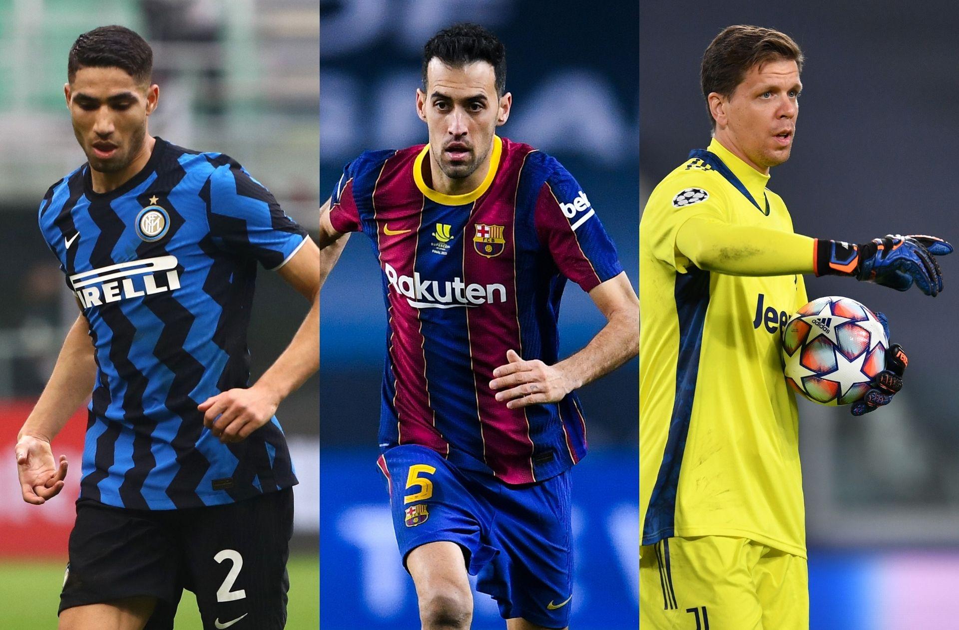 Achraf Hakimi of Inter Milan, Sergio Busquets of Barcelona, Wojciech Szczesny of Juventus
