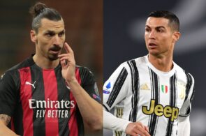Cristiano Ronaldo of Juventus, Zlatan Ibrahimovic of Milan