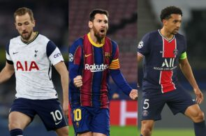 Harry Kane of Tottenham, Lionel Messi of Barcelona, Marquinhos of PSG