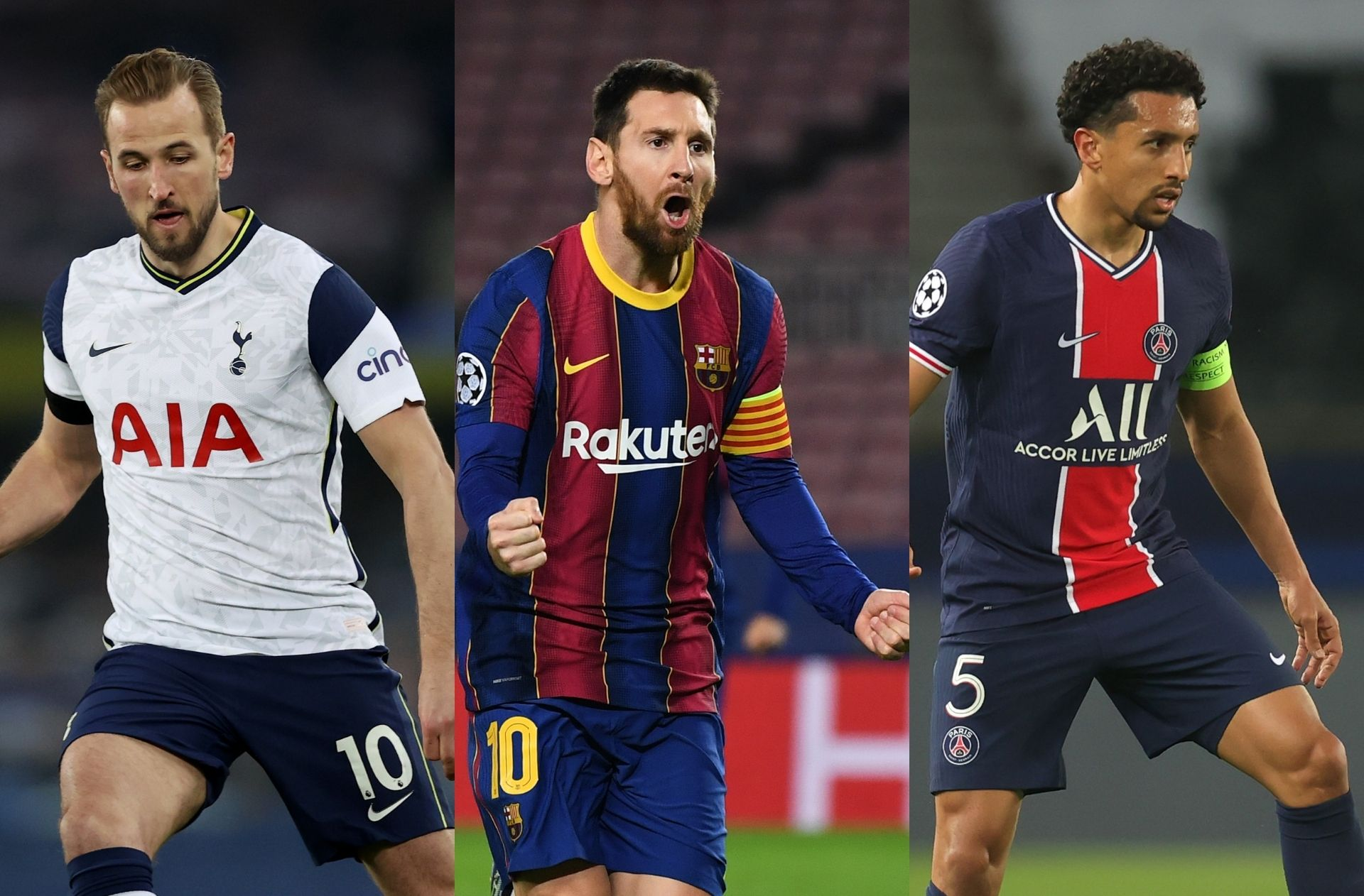 Harry Kane of Tottenham, Lionel Messi of Barcelona, Marquinhos of PSG