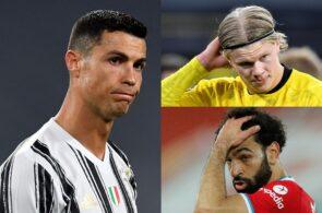 Cristiano Ronaldo of Juventus, Erling Haaland of Borussia Dortmund, Mohamed Salah of Liverpool