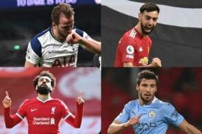 Harry Kane - Tottenham, Bruno Fernandes - Man United, Mohamed Salah - Liverpool, Ruben Dias - Man City