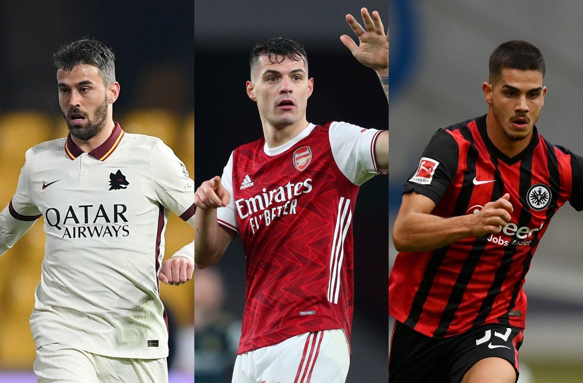 Leonardo Spinazzola of Roma, Granit Xhaka of Arsenal, Andre Silva of Frankfurt
