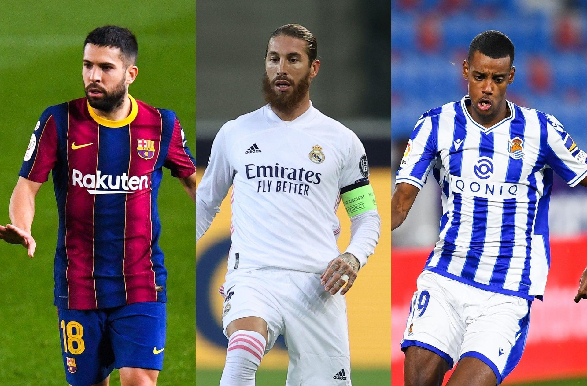 Jordi Alba of FC Barcelona, Sergio Ramos, Alexander Isak of Real Sociedad
