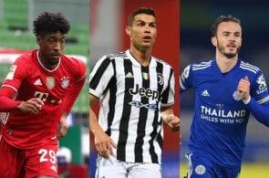 Kingsley Coman of Bayern Munich, Cristiano Ronaldo of Juventus, James Maddison of Leicester City