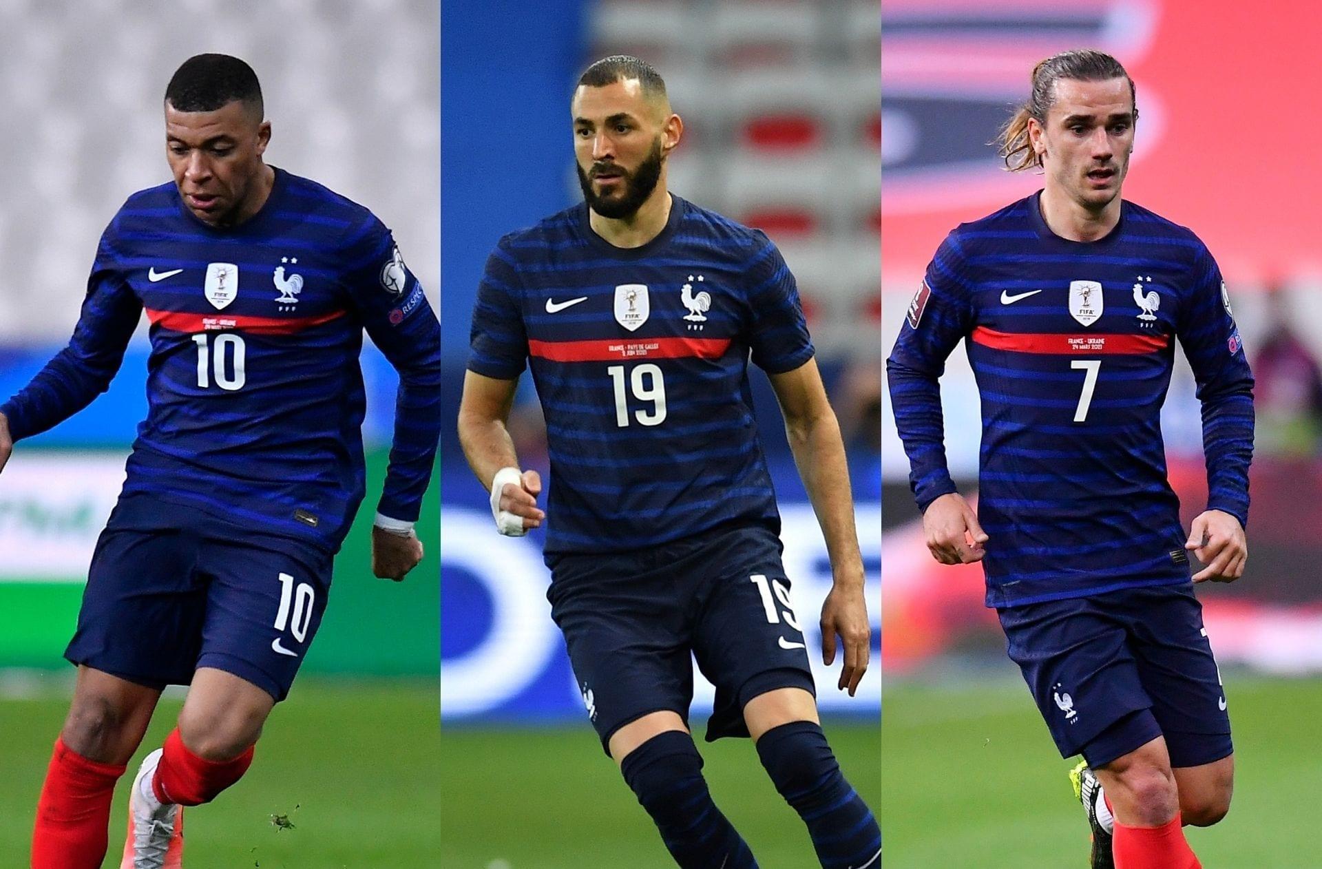 Kylian Mbappe, Karim Benzema, Antoine Griezmann - France