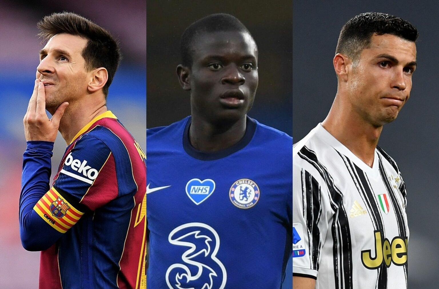 Lionel Messi, N'Golo Kante, Cristiano Ronaldo