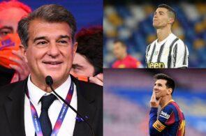 Joan Laporta, Cristiano Ronaldo, Lionel Messi, FC Barcelona