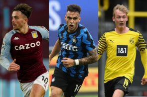Jack Grealish of Aston Villa, Lautaro Martinez of Inter Milan, Julian Brandt of Borussia Dortmund