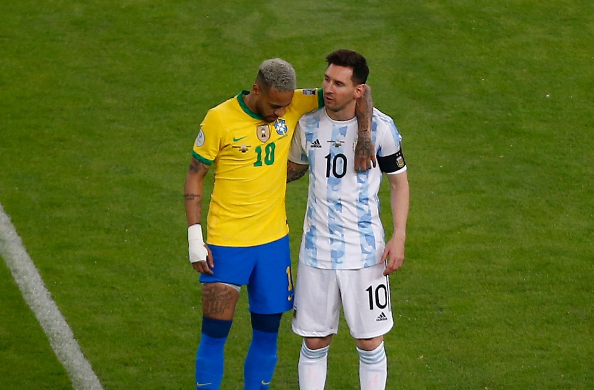 Neymar & Lionel Messi - Argentina vs Brazil: Copa America 2021 final