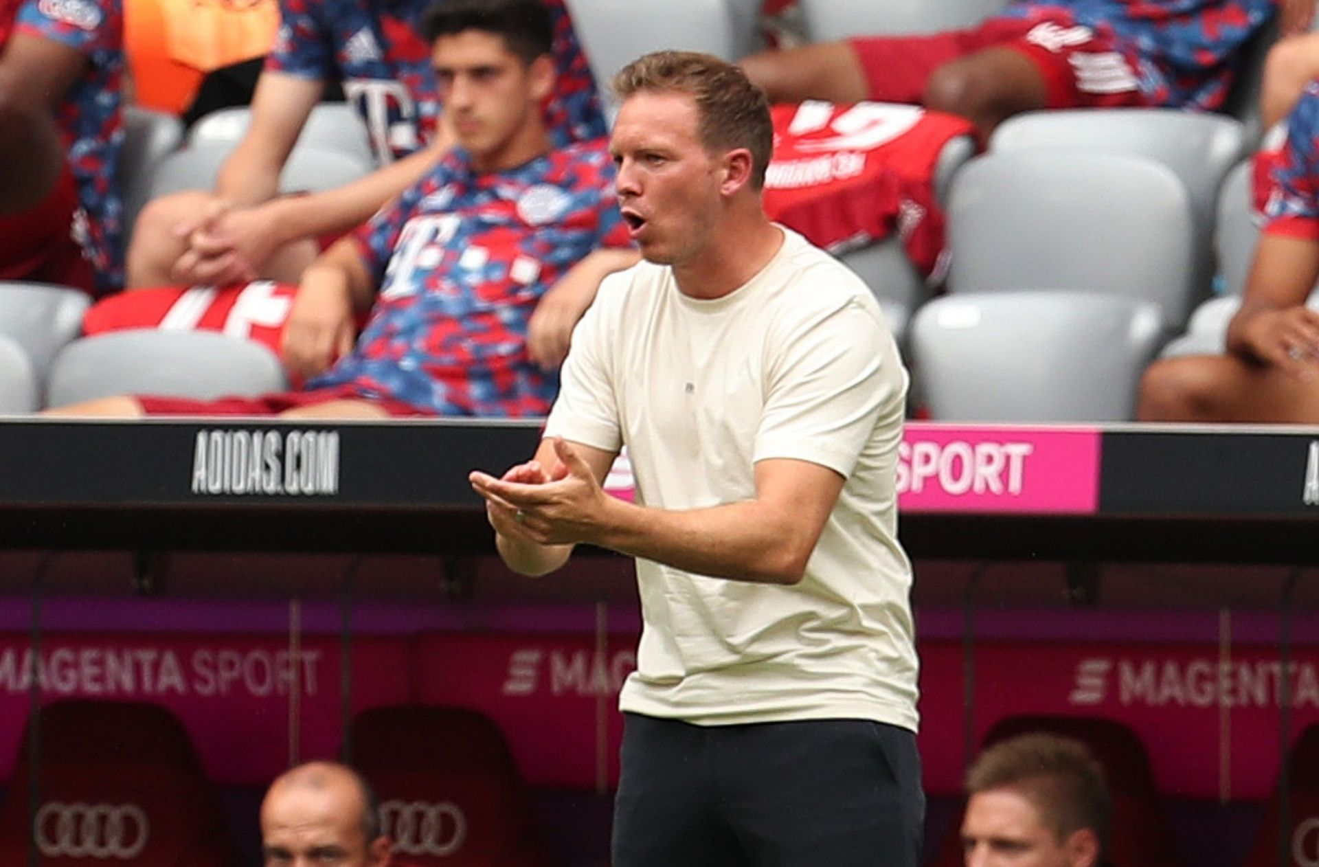 Nagelsmann reacts after first game in charge of Bayern at Allianz Arena
