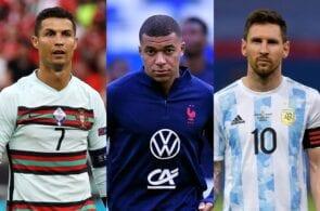 Cristiano Ronaldo, Kylian Mbappe, Lionel Messi