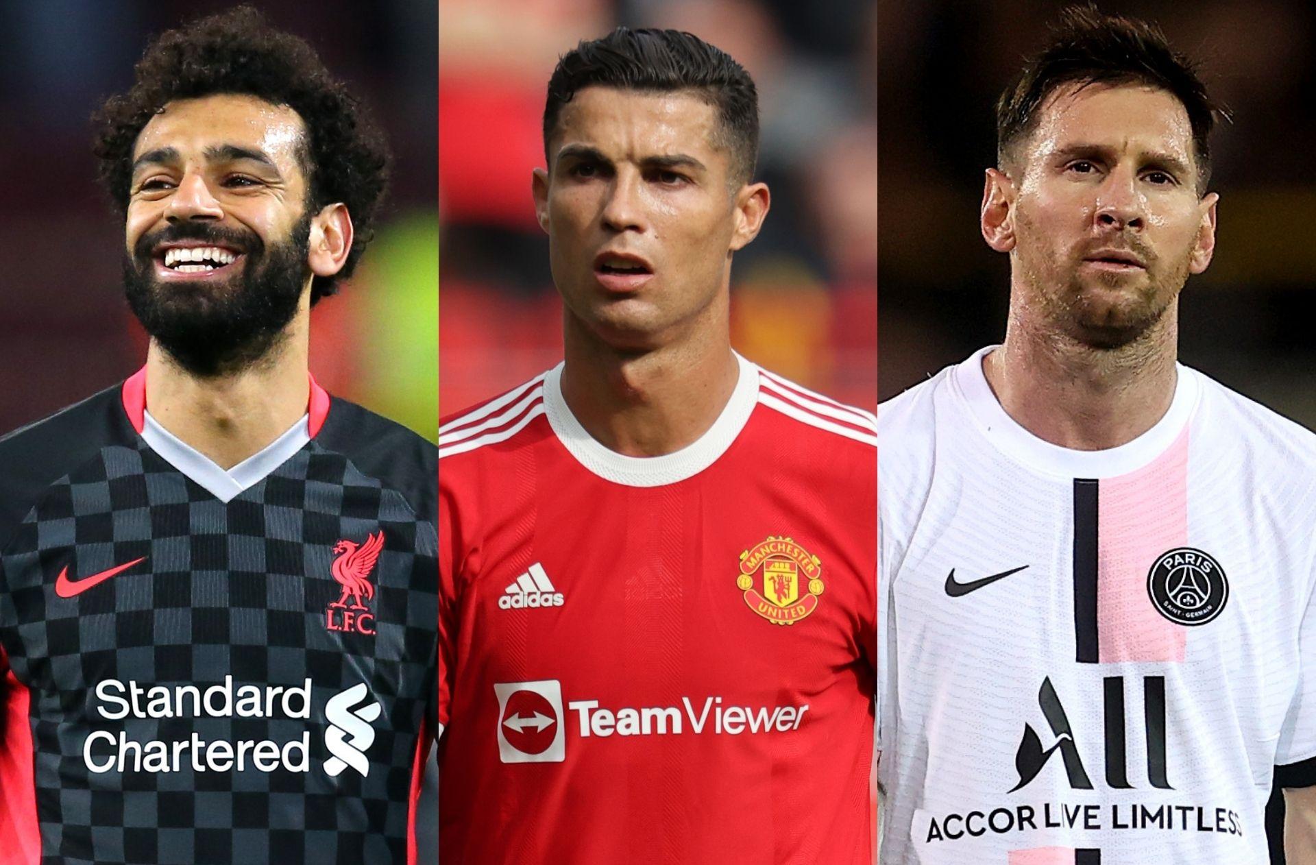 Mohamed Salah, Cristiano Ronaldo, Lionel Messi