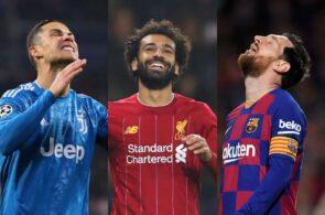 Cristiano Ronaldo, Mohamed Salah, Lionel Messi
